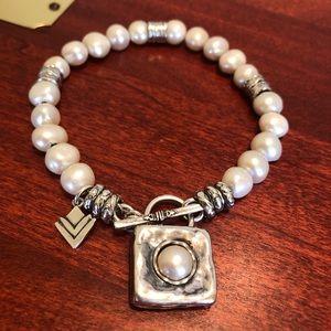 Silpada Sterling Freshwater Pearl Toggle Bracelet